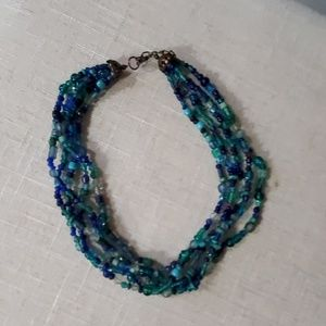 Multistrand beaded blue necklace